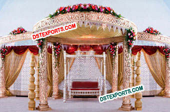 Stylish Wedding Golden Carving Mandap