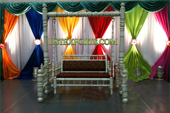 Wedding Swing Stage With Colourful Curtains