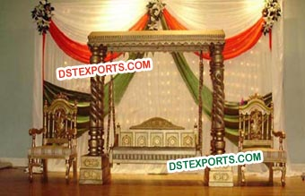 Indian Wedding Golden Stage With Swing