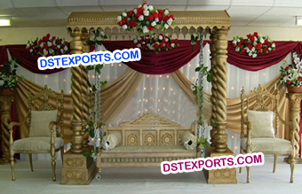 Indian Wedding Golden Carved Swing Stage Set