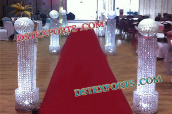 Walkway Crystal Pillars with ball for wedding