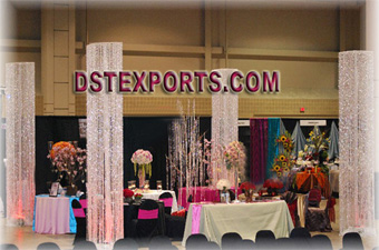 Wedding Mandap Designer Crystal Pillars