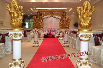 Wedding Pillars With Golden Ganesha