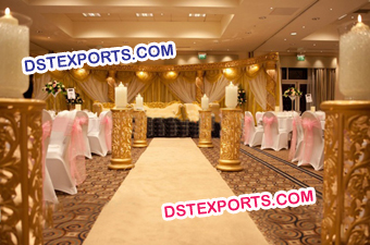 Golden Aisle Way Pillars For Wedding Hall