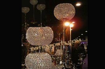 Gold Beaded Crystal Ball Candelabra Centerpiece