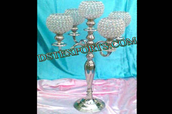 Wedding Silver Metal Crystal Candelabra