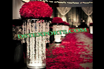 Wedding Aisleway Crystal Pillars With Flower
