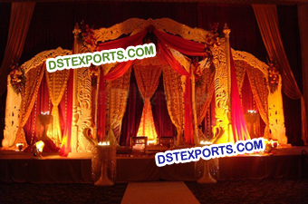 Indian Wedding Peacock Carved Mandap