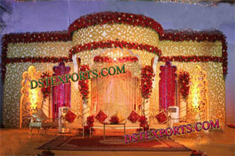 Weding Golden Carved Stage Flower Decoration