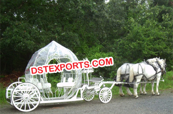 Cindrella Pumpkin Covered Horse Carriage
