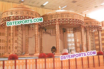Royal Indian Wedding Gold Crown Mandap