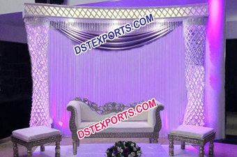 Latest Asian Wedding Crystal Pillar Stage Set
