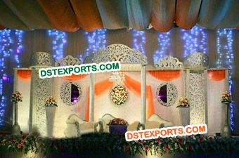 Indian Wedding Fiber Pillars Stage Decoration