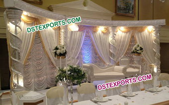 Asian Wedding Silver Fiber Crystal Pillar Stage