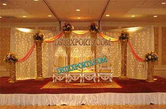 Muslim Wedding Lighted Golden Stage