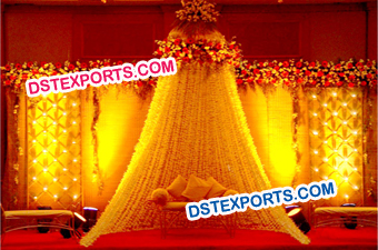 Wedding Golden Mehndi Stage Set