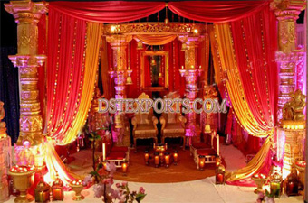 Indian Wedding Golden Dev Pillars Stage