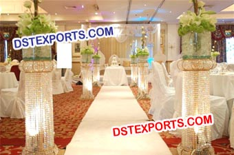 Decorated Led Lighted Crystal Pillars
