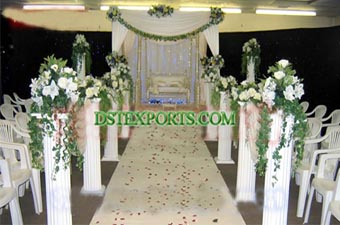 New Wedding White Roman Aisleway Pillars