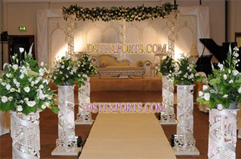 Wedding Aisleway Silver Crystal Small Pillar