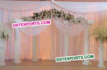 Wedding White Roman Pillars Stage