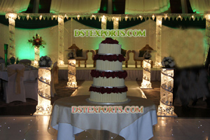 Wedding Aisleway Metal Silver Crystal Pillar