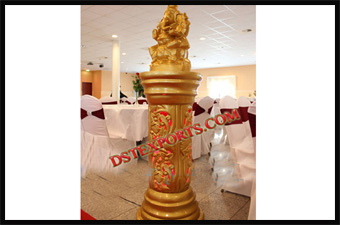 Latest Wedding Golden Pillars With Ganesha