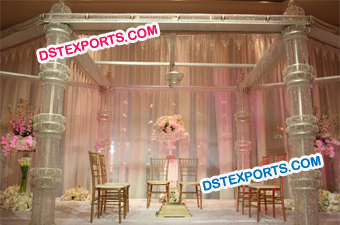 Wedding Stylish Crystal Pillars Mandap