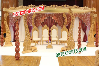 Wedding Wooden Peacock Mandap Set