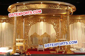 Golden Wooden Carved Night Wedding Mandap