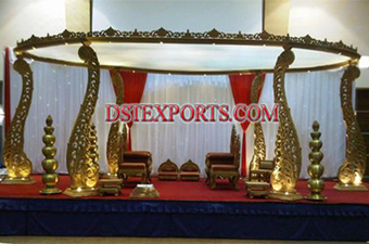 Wedding Wooden Pillars Stage Mandap
