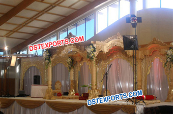 Hindu Weding Wooden Golden Carved Mandap