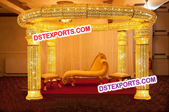 Wedding Royal Crystal Golden Crown Pillars Mandap