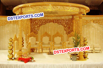 Wedding Golden Hand Carved Wooden Mandap