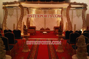 Wedding Wooden Carved Peacock Mandap Set