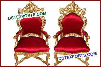 Wedding Red Gold Brass Metal Chair