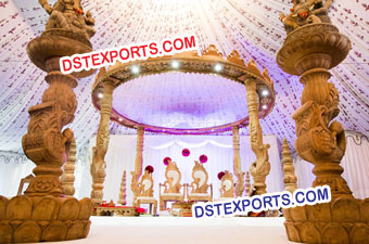 Indian Wedding Wooden Carved Swan Mandap