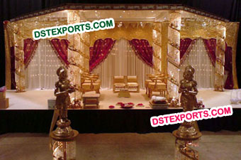 Wedding Crystal Mandap With Golden Lights