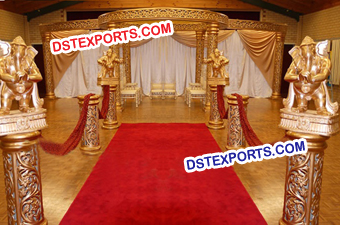 Wedding Golden Carved Style Marriage Mandap