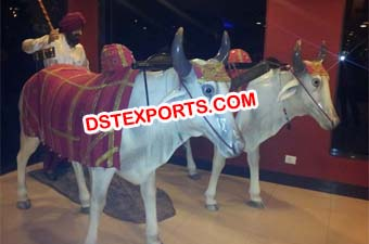 Fiber Punjabi Statue With Cow Statue For Wedding