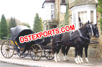 Horse Drawn Black Carriage Victoria