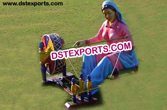 Punjabi Wedding Lady Statue With Charkha