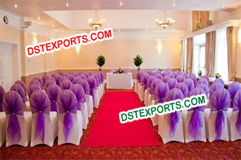 New Style Purple Shashas For Wedding Hall Chairs
