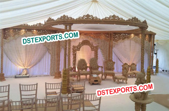 Wedding Wooden Double Pillars Mandap Set