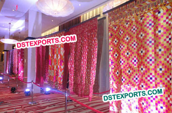 Punjabi Wedding Phulkari Backdrop Curtains