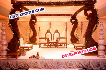 Square Indian Wedding Wooden Mandap