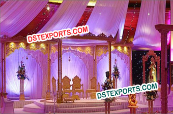 Wedding Twin Pillars Wooden Mandap Set