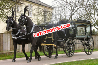 Black English Funeral Horse Carriage