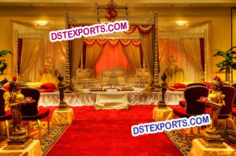Gujrati Wedding Golden Mandap Set