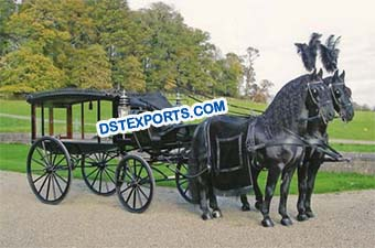 Black Funeral Horse Drawn Hearse
